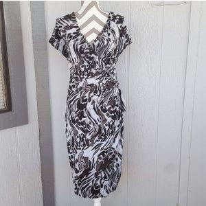 Black Animal Print Wrap Fall Midi Dress Size 1X